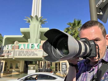 Mike photographing the Alex Theatre in Glendale