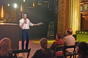 Mike speaking to an audience at the historic Globe Theatre in Los Angeles (photo courtesy Wendell Benedetti)