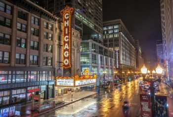 Chicago Theatre and State Street by night