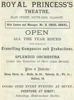 Playbill for the Royal Princess's Theatre in the late 1800s