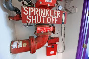 Aquarius Theatre sprinkler shutoff valve in basement