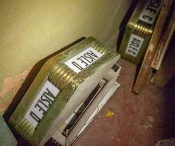 Egyptian Theatre, Hollywood: Old aisle lights in storage