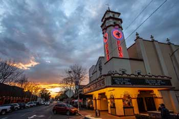 Visalia Fox Theatre: Exterior at Dusk