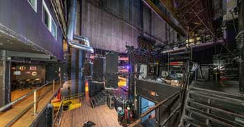Globe Theatre, Los Angeles: Backstage from Upstage Left (Panoramic view)