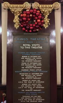 King's Theatre, Edinburgh: Lobby plaque commemorating Royal visits