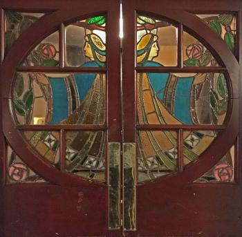 King's Theatre, Edinburgh: Edwardian stained glass doors at Stalls level