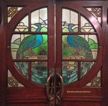 King's Theatre, Edinburgh: Stained Glass door at Grand Circle Bar