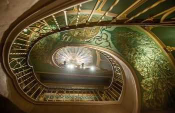 Orpheum Theatre, Phoenix: Peacock Staircase, from Basement looking vertically up to Mezzanine level