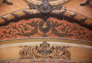 Plaster and paintwork above Proscenium Arch from center