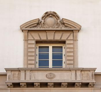 Pasadena Civic Auditorium: Facade window (forced perspective)