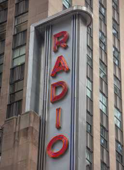 Radio City Music Hall, New York: Vertical Sign Closeup