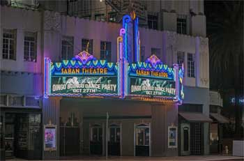 Saban Theatre, Beverly Hills: Marquee At Night, from side