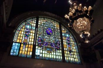 Stained glass window and chandelier