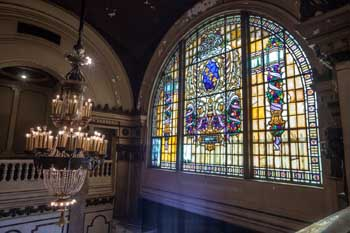 Stained glass window from Upper Level side