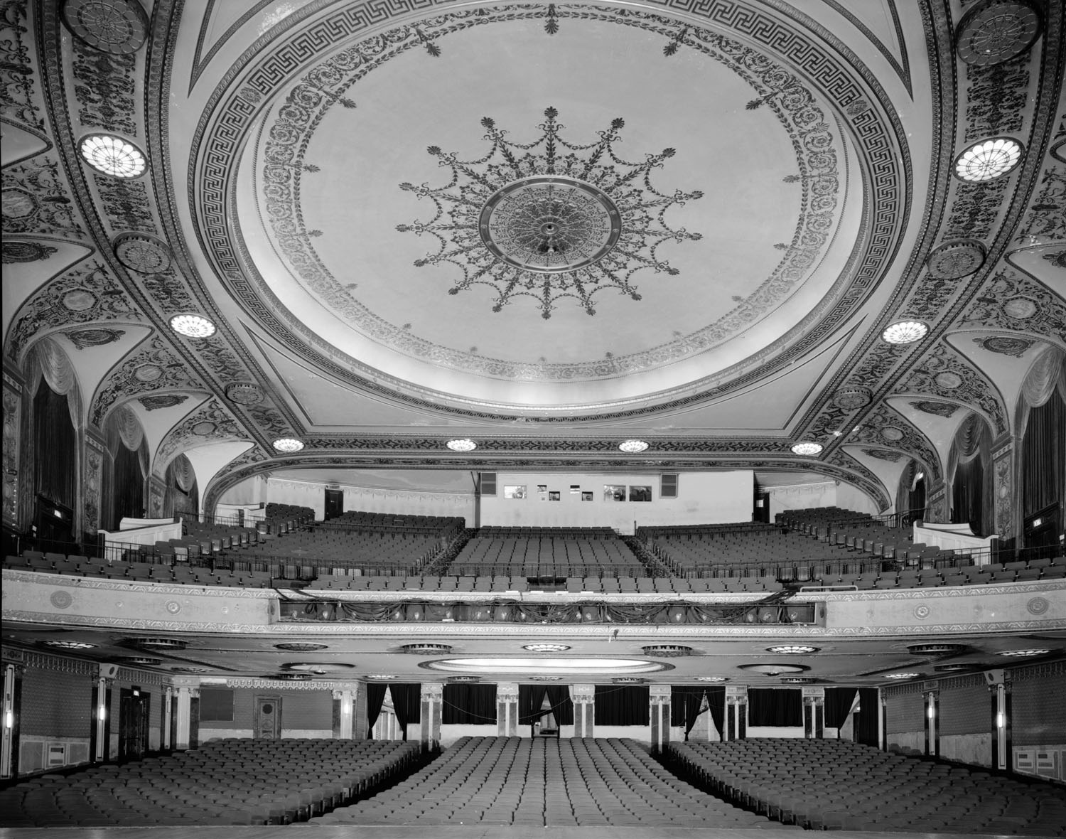 Auditorium from Stage, circa 1970s – note the missing central chandelier, courtesy Library of Congress (JPG)