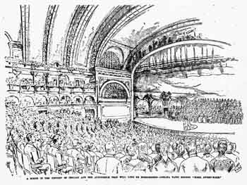 Illustration of opening night at the Auditorium Theatre, as printed in the 10th December 1889 edition of the <i>Chicago Tribune</i> (JPG)