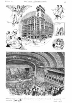 Full-page picture feature followed by half-page writeup on the new Auditorium Theatre as featured in the 21st December 1889 edition of <i>Frank Leslie's Illustrated Newspaper</i>, held by Pennsylvania State University and digitized by Google (2.5MB PDF)