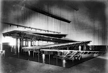 Stage bridges as seen from the Downstage Right, from the Historic American Buildings Survey, date unknown. Note the wraparound cyclorama (JPG)