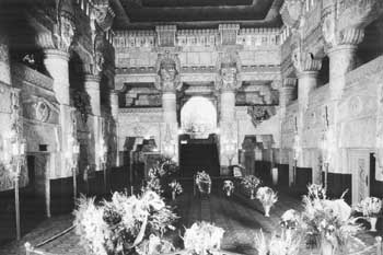Lobby decked with flowers on opening night, 4th June 1926, courtesy <i>San Antonio Express-News</i> (JPG)