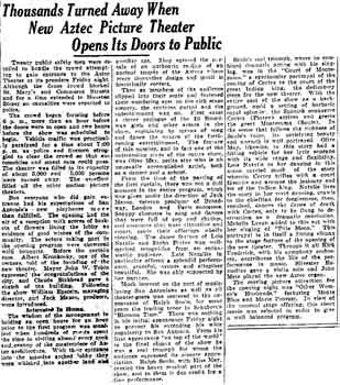 Review of the opening of the Aztec Theatre as published in the 5th June 1926 edition of the <i>San Antonio Express</i> (130KB PDF)