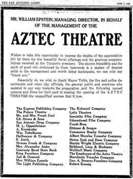 Thank-you advert published by the theatre in the 7th June 1926 edition of the <i>San Antonio Light</i> (760KB PDF)