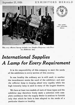 Simplex advertisement featuring the Aztec Theatre projection booth, from the 25th September 1926 edition of <i>Exhibitors Herald</i>, held by the Museum of Modern Art Library in New York and scanned online by the Internet Archive (400KB PDF)
