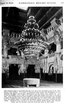Photograph of the newly-installed lobby chandelier from the 31st August 1929 edition of <i>Exhibitors Herald-World</i>, held by the Museum of Modern Art Library in New York and scanned online by the Internet Archive (400KB PDF)