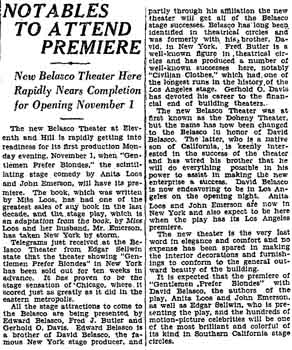 Progress update as printed in the 17th October 1926 edition of the <i>Los Angeles Times</i> (670KB PDF)
