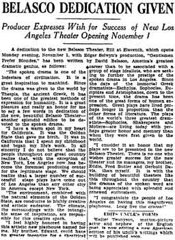 Dedication of the new theatre by David Belasco, from the 24th October 1926 edition of the <i>Los Angeles Times</i> (680KB PDF)