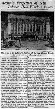 """Acoustic Properties of New Belasco Held World's Finest"", as printed in the 26th October 1926 edition of the <i>Los Angeles Evening Express</i> (150KB PDF)"