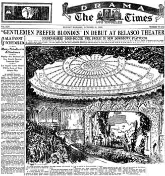 Preview of the opening of the Belasco Theatre as printed in the 31st October 1926 edition of the <i>Los Angeles Times</i> (460KB PDF)