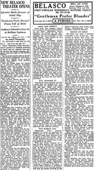 Review of the theatre's opening as featured in the 2nd November late edition, and reprinted in the 3rd November 1926 edition, of the <i>Los Angeles Times</i> (230KB PDF)