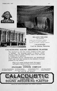 Advertisement for Calacoustic sound absorbing plaster from the February 1927 edition of <i>Architect and Engineer</i> (320KB PDF)