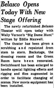 News of the reopening of the refurbished Belasco Theatre, as reported in the 25th December 1948 edition of the <i>Los Angeles Times</i> (200KB PDF)