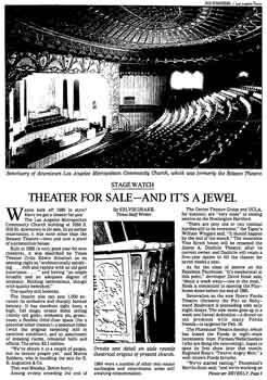 The Belasco for sale in early 1985, as featured in the 10th January 1985 edition of the <i>Los Angeles Times</i> (170KB PDF)