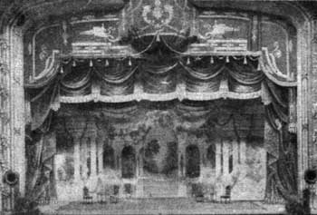 The only known photo of the 1912 Lighting Box, fitted out with carbon arc lamps, located above the Stage in front of the Proscenium Arch (JPG)