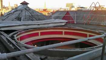 The sliding roof dome in the open position, courtesy of Peter Tovey at the Bristol Hippodrome (JPG)