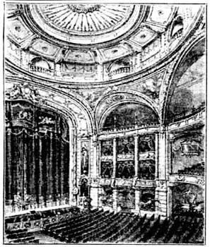 Line drawing of auditorium, showing original dome decoration, from the Bristol Western Press (16 December 1912), scanned by the British Newspapaer Archive (200KB PDF)