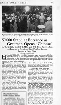 News feature of the opening night at Grauman's Chinese from the 28th May 1927 edition of <i>Exhibitors Herald</i> (700KB PDF)