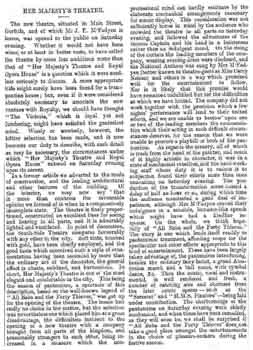 Review of the opening night at Her Majesty's Theatre and Royal Opera House as printed in the 30th December 1878 edition of the <i>Glasgow Herald</i>, courtesy British Newspaper Archive (380KB PDF)