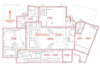 Diagram showing the comparative dates of the Citizens Theatre building complex, by Bennetts Associates (JPG)