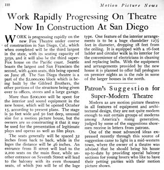 News of work progressing on the Fox Theatre as reported in the 6th July 1929 edition of <i>Motion Picture News</i>, held by the Media History Digital Library and scanned online by the Internet Archive (410KB PDF)