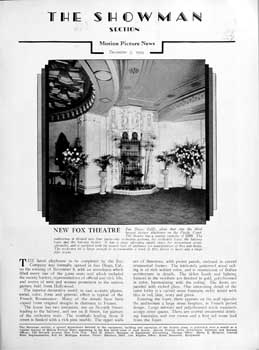 Two-page feature on the completed Fox Theatre from the 7th December 1929 edition of <i>Motion Picture News</i>, held by the Media History Digital Library and scanned online by the Internet Archive (1MB PDF)