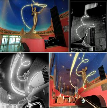 Digital re-creation of the yellow/gold neon rising from the Goddess of Neon sculpture in the Lobby, presented alongside historic B&W photos for comparison (JPG)