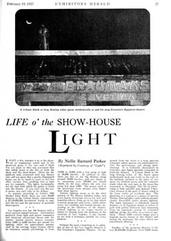 "A review of several Los Angeles theatres, featuring the Egyptian, from ""Exhibitors Herald"" (19 February 1927), held by the Museum of Modern Art Library in New York and scanned online by the Internet Archive (1.7MB PDF)"
