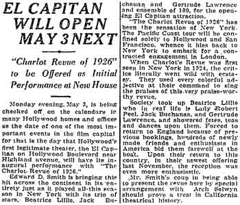 Report of the upcoming opening of the theatre, as printed in the 11th April 1926 edition of the <i>Los Angeles Times</i> (430KB PDF)