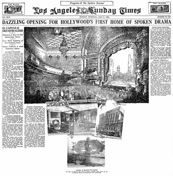 Front page report on, and illustrations of, the theatre ahead of its opening night, as printed in the 2nd May 1926 edition of the <i>Los Angeles Times</i> (7.7MB PDF)