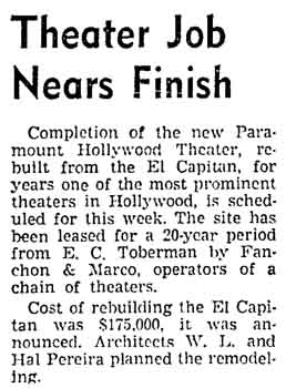 "An update on the theatre's transformation into the ""Hollywood Paramount"", as printed in the 15th March 1942 edition of the <i>Los Angeles Times</i> (150KB PDF)"