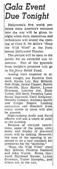 News of the gala opening of the renamed theatre as printed in the 18th March 1942 edition of the <i>Los Angeles Times</i> (430KB PDF)