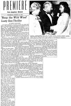 Review of the renamed theatre's opening night as published in the 19th March 1942 edition of the <i>Los Angeles Times</i> (300KB PDF)